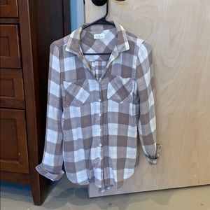 Thread and supply flannel cream checkered